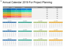 Annual Calendar 2019 For Project Planning