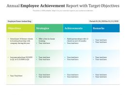 Annual Employee Achievement Report With Target Objectives