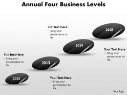 annual four business levels timeline shown with stones powerpoint templates 0712