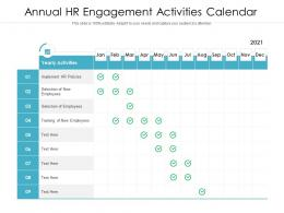 Annual HR Engagement Activities Calendar