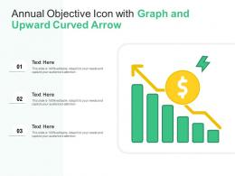 Annual Objective Icon With Graph And Upward Curved Arrow