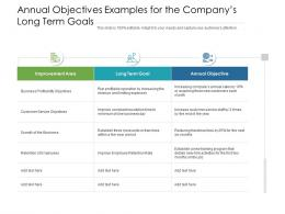 Annual Objectives Examples For The Companys Long Term Goals