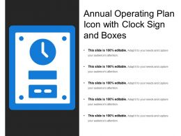 Annual Operating Plan Icon With Clock Sign And Boxes