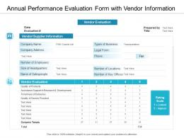 Annual Performance Evaluation Form With Vendor Information