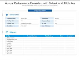 Annual Performance Evaluation With Behavioural Attributes