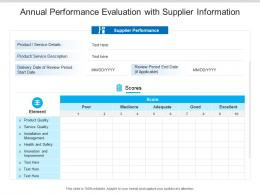 Annual Performance Evaluation With Supplier Information
