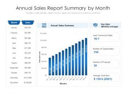Annual Sales Report Summary By Month