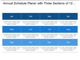 Annual Schedule Planer With Three Sections Of 12 Months