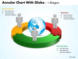 annular chart with globe 3 stages powerpoint diagrams presentation slides graphics 0912