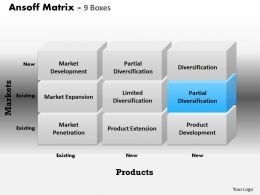 Ansoff Matrix 9 Boxes PowerPoint Template Slide