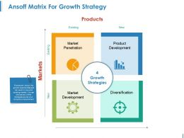 Ansoff Matrix For Growth Strategy Powerpoint Show