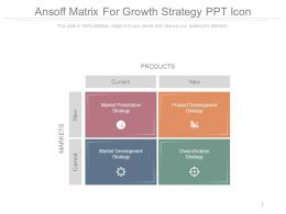 Ansoff Matrix For Growth Strategy Ppt Icon