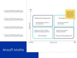 Ansoff Matrix Product Development Ppt Powerpoint Presentation Outline Structure
