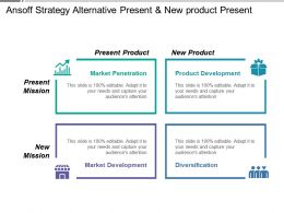 Ansoff Strategy Alternative Present And New Product Present