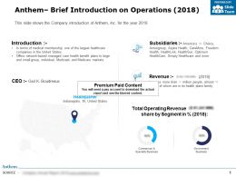 Anthem Brief Introduction On Operations 2018