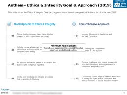 Anthem Ethics And Integrity Goal And Approach 2019
