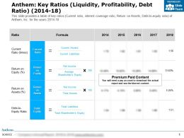 Anthem Key Ratios Liquidity Profitability Debt Ratio 2014-18