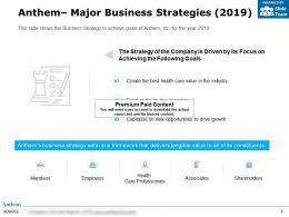 Anthem Major Business Strategies 2019