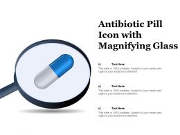 Antibiotic Pill Icon With Magnifying Glass
