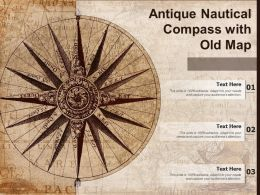 Antique Nautical Compass With Old Map