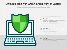 Antivirus Icon With Green Shield Front Of Laptop