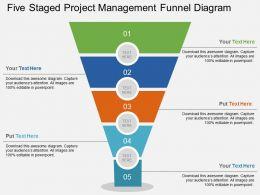 ao Five Staged Project Management Funnel Diagram Flat Powerpoint Design