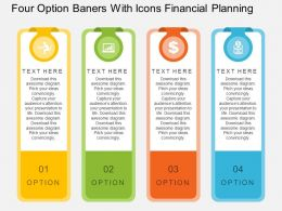 ao Four Option Banners With Icons Financial Planning Flat Powerpoint Design