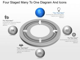 ao Four Staged Many To One Diagram And Icons Powerpoint Template