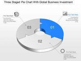 Ao Three Staged Pie Chart With Global Business Investment Powerpoint Template Slide