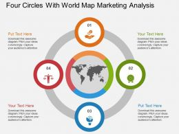 ap Four Circles With World Map Marketing Analysis Flat Powerpoint Design