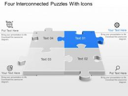 Ap Four Interconnected Puzzles With Icons Powerpoint Template