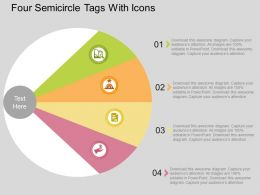 ap Four Semicircle Tags With Icons Flat Powerpoint Design