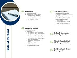 API Ecosystem Table Of Content Ppt Powerpoint Presentation Slides Graphics Download