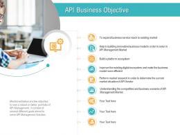 API Management Market API Business Objective Ppt Powerpoint Presentation Ideas Gallery