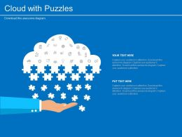 app Cloud With Puzzle And Icons For Cloud Services Flat Powerpoint Design