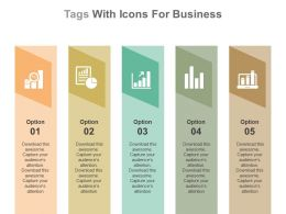 app_five_staged_tags_with_icons_for_business_result_analysis_flat_powerpoint_design_Slide01