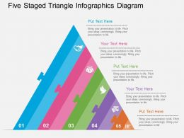 app Five Staged Triangle Infographics Diagram Flat Powerpoint Design