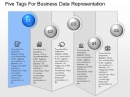 app Five Tags For Business Data Representation Powerpoint Template