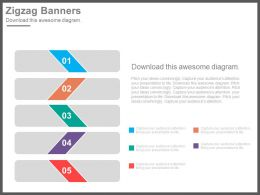 app Five Zigzag Banners For Business Data Analysis Flat Powerpoint Design
