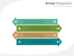 app Four Arrow Infographics For Global Business Strategy Flat Powerpoint Design