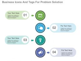 app Four Business Icons And Tags For Problem Solution Flat Powerpoint Design