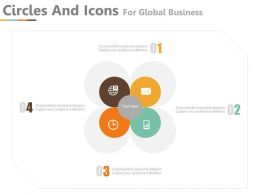 app Four Circles And Icons For Global Business Communication Flat Powerpoint Design