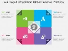app Four Staged Infographcis Global Business Practices Flat Powerpoint Design