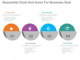 app Four Staged Sequential Chart And Icons For Business Deal Flat Powerpoint Design
