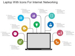app Laptop With Icons For Internet Networking Flat Powerpoint Design