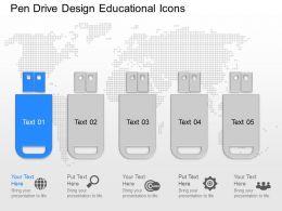 app Pen Drive Design Educational Icons Powerpoint Template