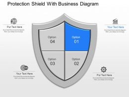 app Protection Shield With Business Diagram Powerpoint Template