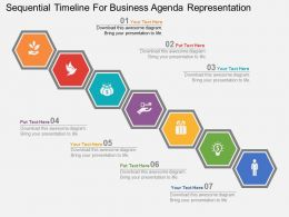 app Sequential Timeline For Business Agenda Representation Flat Powerpoint Design