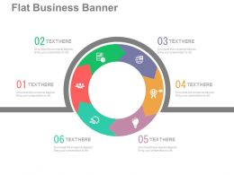 app Six Staged Circle Chart For Business Process Indication Flat Powerpoint Design