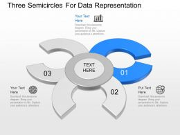 app Three Semicircles For Data Representation Powerpoint Template